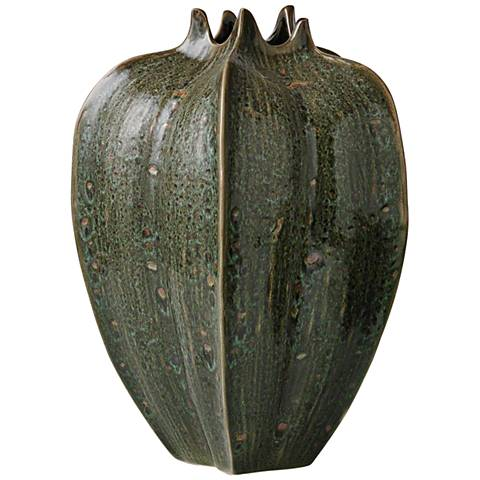 "Star Fruit Large Reactive Green 13"" High Ceramic Vase"