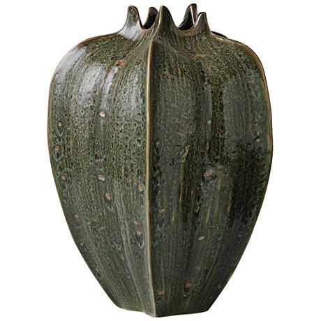 "Star Fruit Large Reactive Green 13"" High Ceramic Vase"