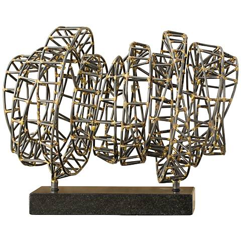 "Helix 12"" Wide Iron and Brass Three-Dimensional Sculpture"