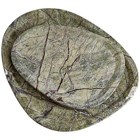 Vidya Forest Green Bidasar Stone Large Tray