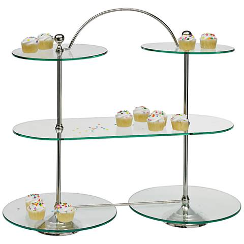 "Maison Home Ella Nickel and Glass 24 1/2"" High Bakery Stand"