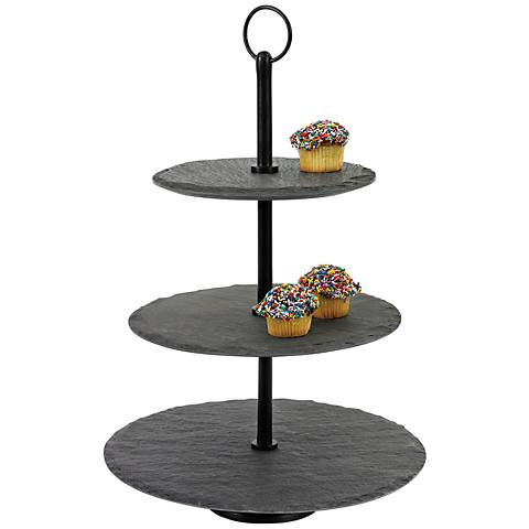 "Maison Home Hannah Round Slate 17"" High 3-Tier Fruit Stand"