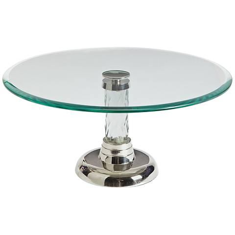"Maison Home Sprinkle Glass and Nickel 12"" Round Cake Platter"