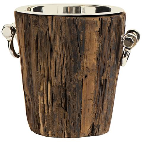 Maison Home Byram Polished Nickel and Brown Wood Ice Bucket