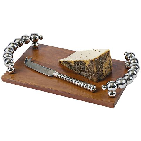 Howser Nickel and Wood 2-Piece Cheese Platter and Knife Set