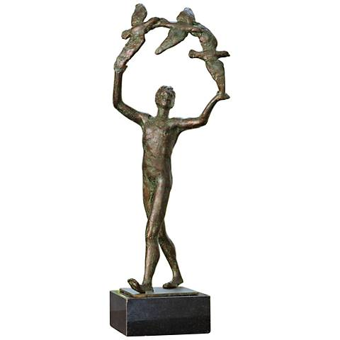 "Capturing Flight 18 3/4"" High Verdi Iron Statue"