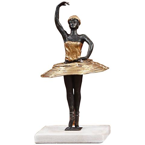 "Bauhaus Pirouette 14 1/4"" High Bronze and Gold Statue"