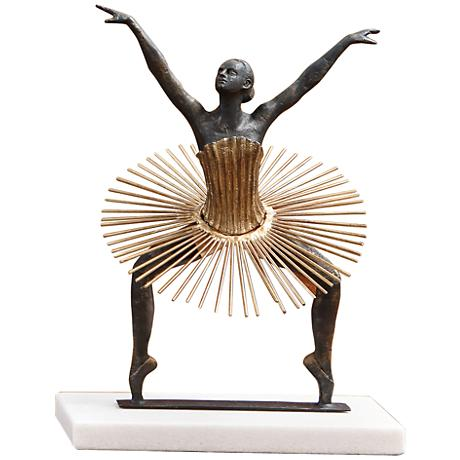 "Bauhaus Grande Plie 14 1/2"" High Bronze and Gold Statue"