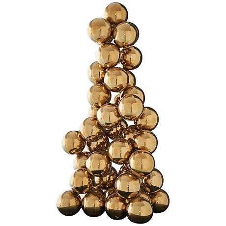 "Synchronicity Brass 24"" High Sphere Sculpture"