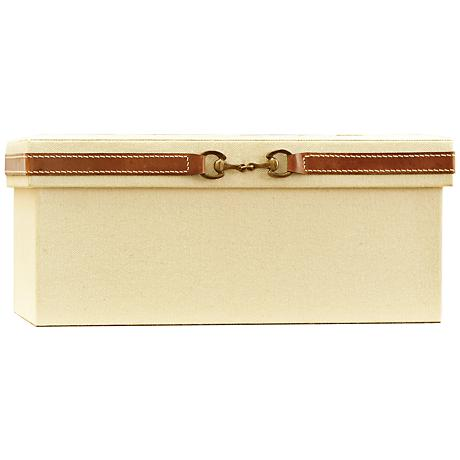 Stirrup Canvas and Brown Leather Medium Storage Box