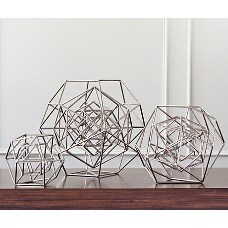 "Geo 18 1/4"" Wide Nickel Iron Sculpture"