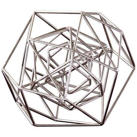 "Geo 14 1/4"" Wide Nickel Iron Sculpture"