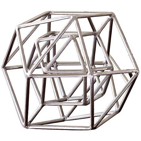 "Geo 9 1/2"" Wide Nickel Iron Sculpture"