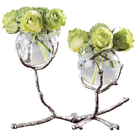 """Limber Nickel 12"""" Wide Twig 2-Vase Holder"""