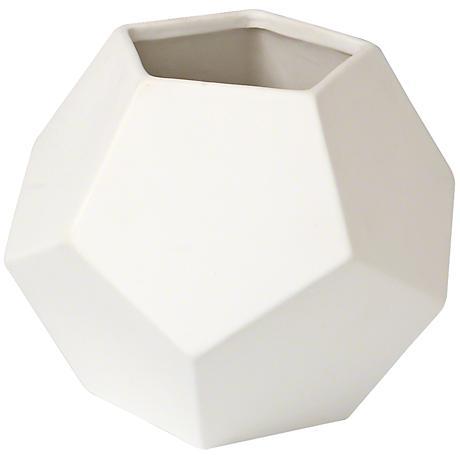 "Plateau Matte White 7"" Wide Faceted Ceramic Vase"