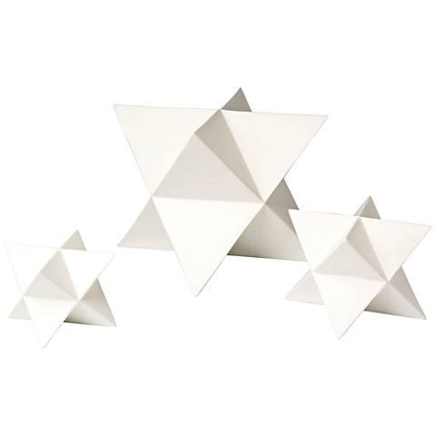 Astral Matte White 3-Piece Star Ceramic Figurine Set