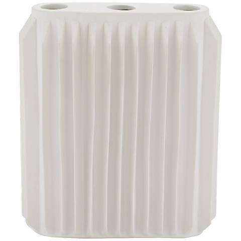 """Andros Matte White 9 1/4"""" High Ceramic Vase"""