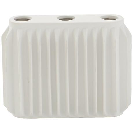 "Andros Matte White 8"" Wide Ceramic Vase"