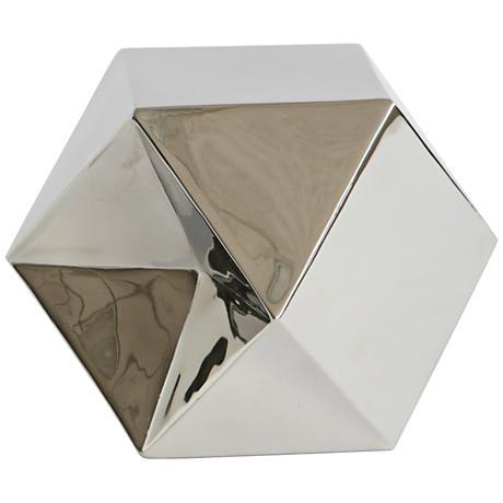 """Dicey Nickel Metal 8 3/4"""" Wide Diamond Cube"""