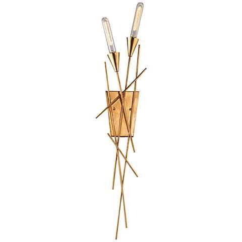 "Sticks 35"" High Antique Gold Leaf 2-Light Wall Sconce"