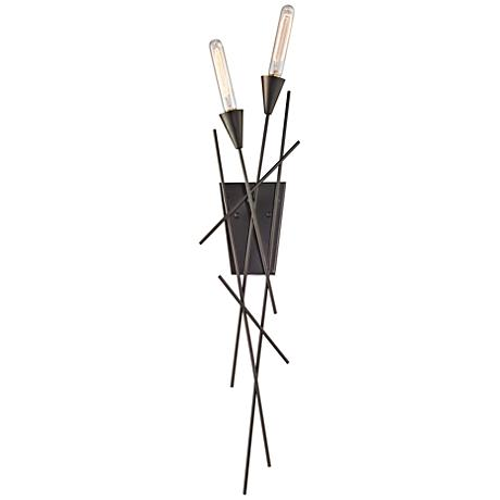 "Sticks 35"" High Oil Rubbed Bronze 2-Light Wall Sconce"