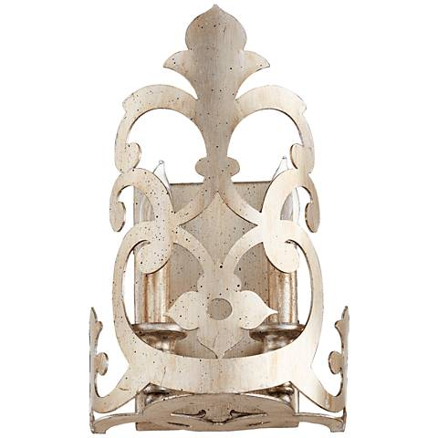 "Quorum Charlton 12""H 2-Light Aged Silver Leaf Wall Sconce"