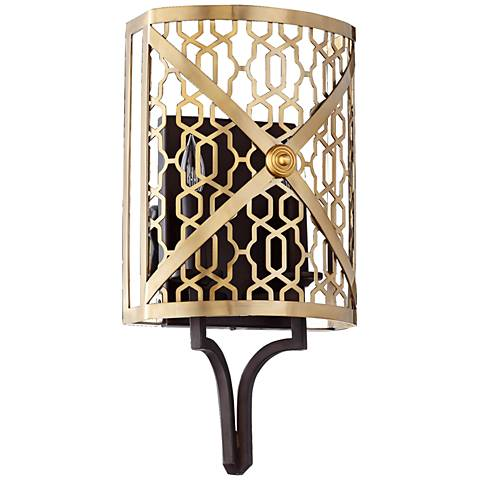 "Quorum Renzo 18 1/2"" High 2-Light Aged Brass Wall Sconce"