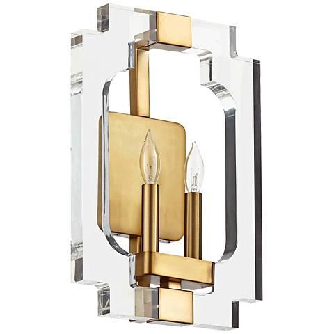 "Quorum Broadway 15"" High 2-Light Aged Brass Wall Sconce"