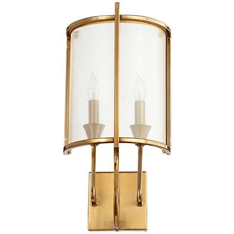 "Quorum Highline 18 1/4""H 2-Light Aged Brass Wall Sconce"