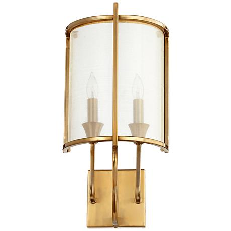 "Quorum Highline 18 1/4""H 2-Light Aged Brass Wall Sconce"