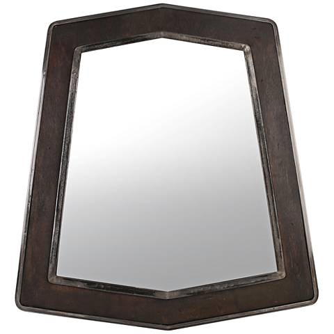 "Lofty Faux Zebrawood and Steel 29 1/2""x32"" Wall Mirror"