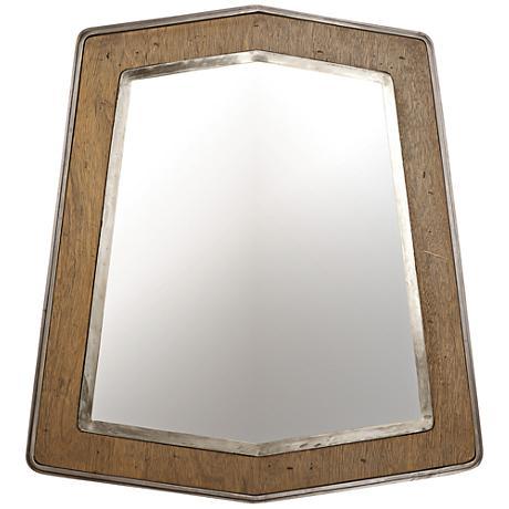 "Lofty Wheat and Steel 29 1/2""x32"" Wall Mirror"