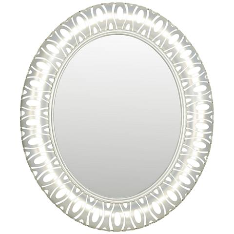 "Masquerade Pearl 32 1/2""x38 1/2"" Oval Wall Mirror"