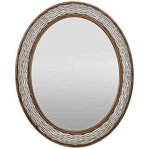 "Flow Hammered Ore 29""x35"" Oval Wall Mirror"