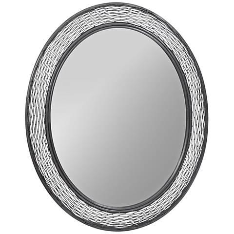 "Varaluz Casa Flow Steel 29""x35"" Oval Wall Mirror"