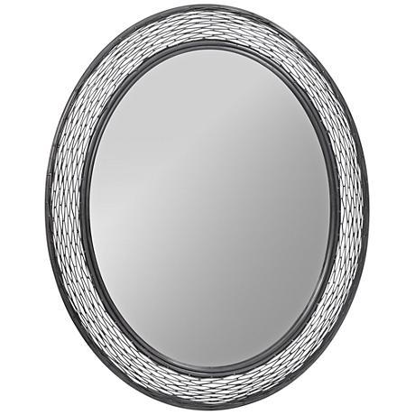 """Varaluz Flow Steel 29""""x35"""" Oval Wall Mirror"""
