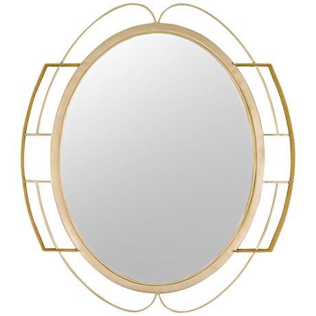 """Tinali Gold Dust 29 1/2""""x34 1/2"""" Oval Wall Mirror"""