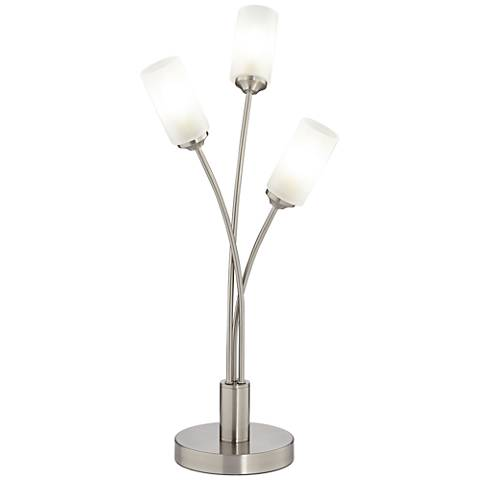 Possini Euro Lara Brushed Steel 3-LED Accent Table Lamp