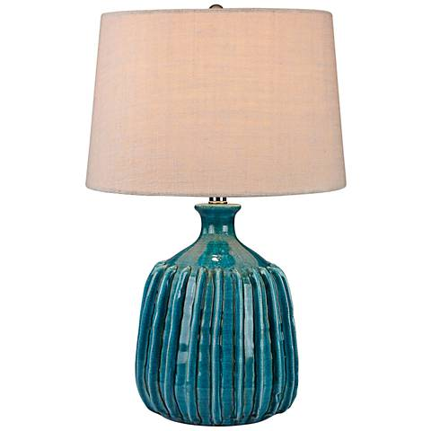 Manchester Ribbed Blues Turquoise Glaze Ceramic Table Lamp