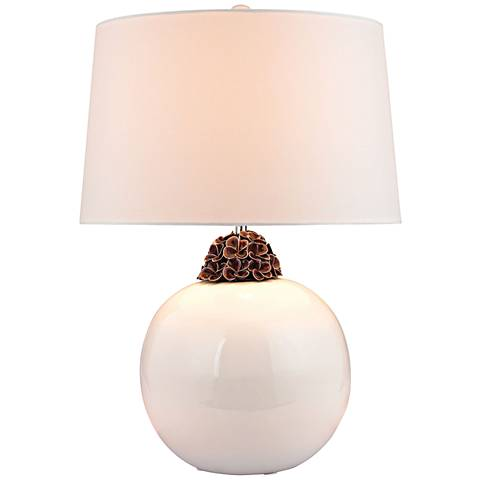 Cowan Embellished Neck White and Brown Ceramic Table Lamp