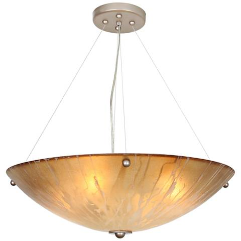 "You Will Remember 21"" Wide Autumn Wood Silver Pendant Light"