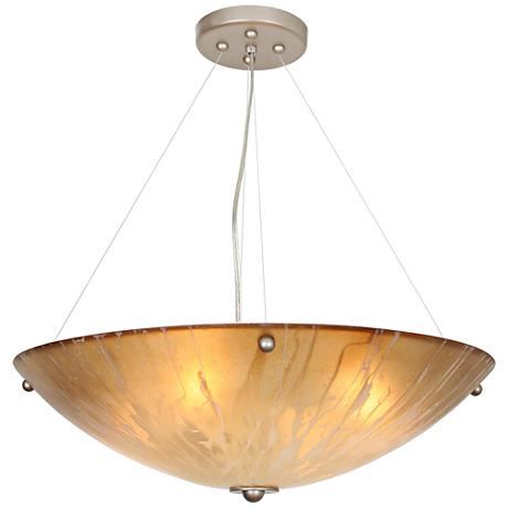 """You Will Remember 21"""" Wide Autumn Wood Silver Pendant Light"""
