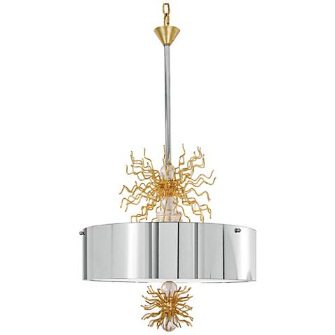 "Van Teal Burst 18"" Wide Chrome and Gold Leaf Pendant Light"