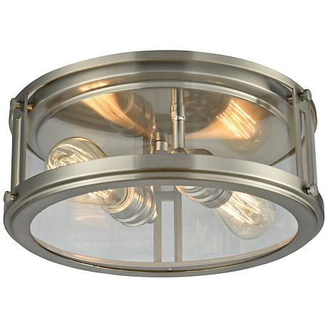 """Coby 13"""" Wide Brushed Nickel 2-Light Ceiling Light"""