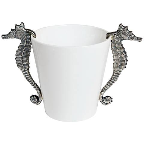Seahorse Brushed Nickel and White Ceramic Wine Cooler
