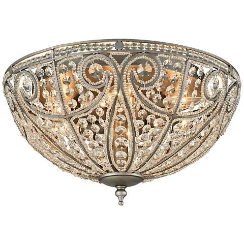 "Elizabethan 17"" Wide Weathered Zinc 6-Light Ceiling Light"