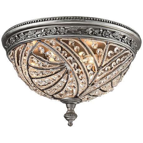 """Renaissance 16"""" Wide Weathered Zinc 4-Light Ceiling Light"""