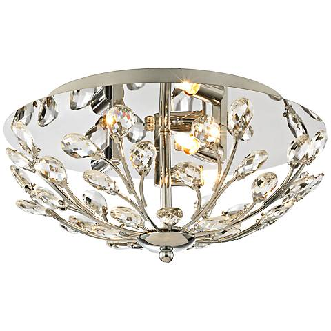 "Crystique 13"" Wide Polished Chrome 3-Light Ceiling Light"