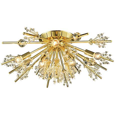 """Starburst 26"""" Wide Polished Gold 8-Light Ceiling Light"""