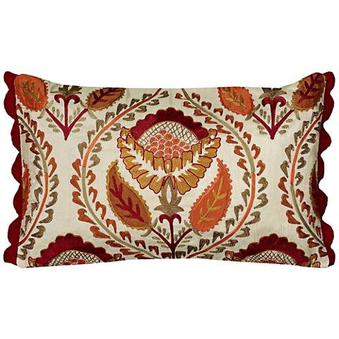 "Kara Multi-Color Red Medallion Floral 20""x12"" Throw Pillow"